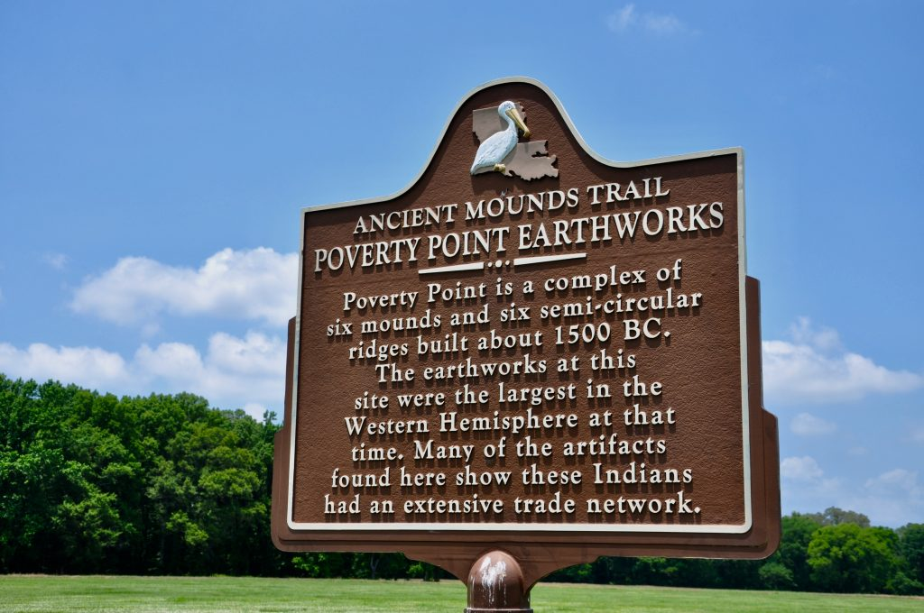 Poverty Point earthworks state sign
