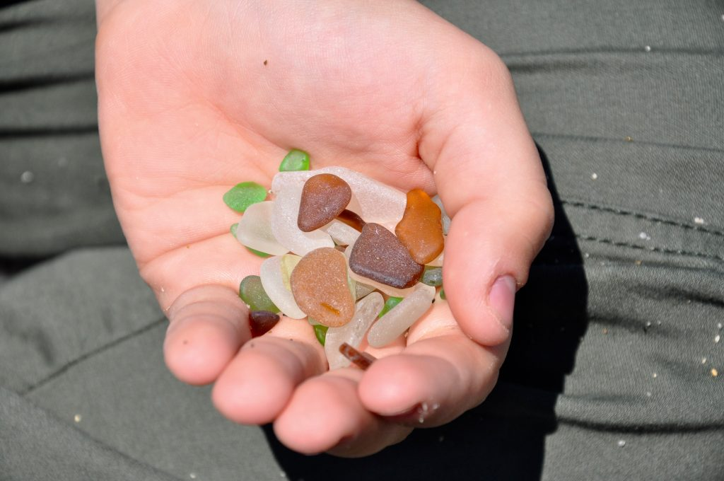 Sea glass found at Glass Beach on Mendocino Coast