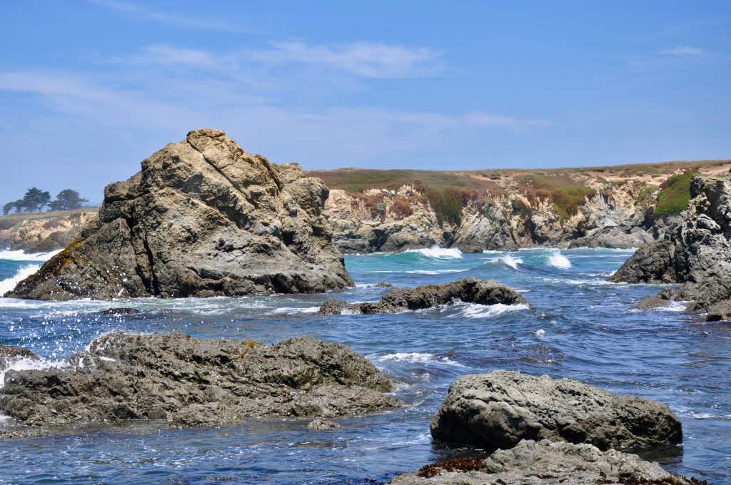 View of Glass Beach, Northern California coast